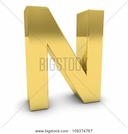 Gold 3D Uppercase Letter N Isolated On White With Shadows