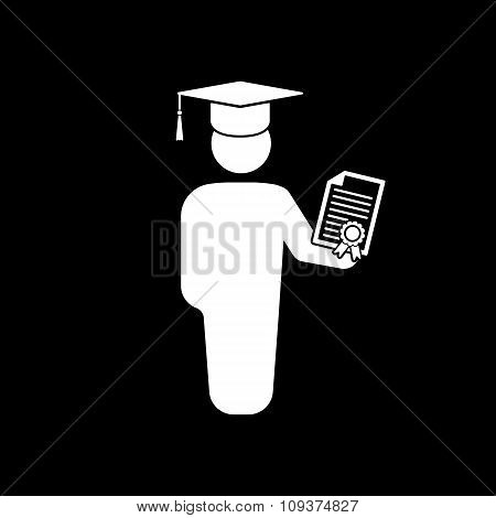 The graduate with diploma icon. School and university, learning, education symbol. Flat