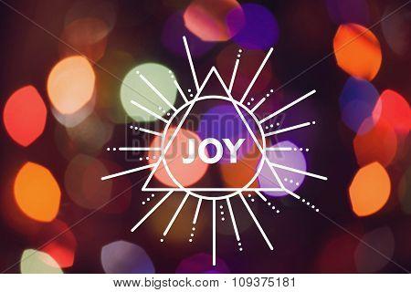 Merry Christmas New Year Triangle Label Joy Bokeh