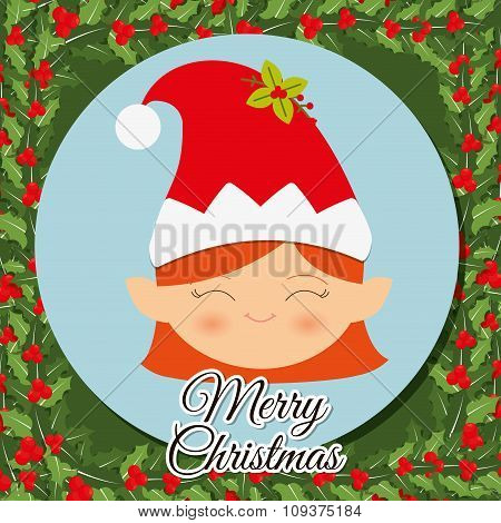 Merry christmas colorful icon graphic