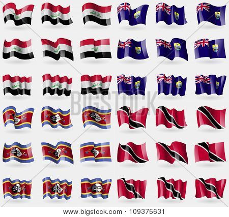 Iraq, Saint Helena, Swaziland, Trinidad And Tobago. Set Of 36 Flags Of The Countries Of The World. V
