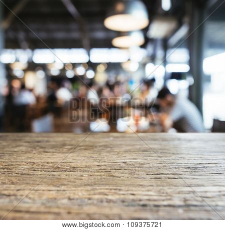 Table top counter Bar with Restaurant Cafe Blurred background