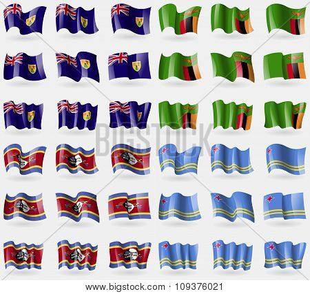 Turks And Caicos, Zambia, Swaziland, Aruba. Set Of 36 Flags Of The Countries Of The World. Vector