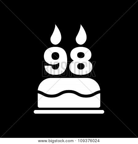 The birthday cake with candles in the form of number 98 icon. Birthday symbol. Flat