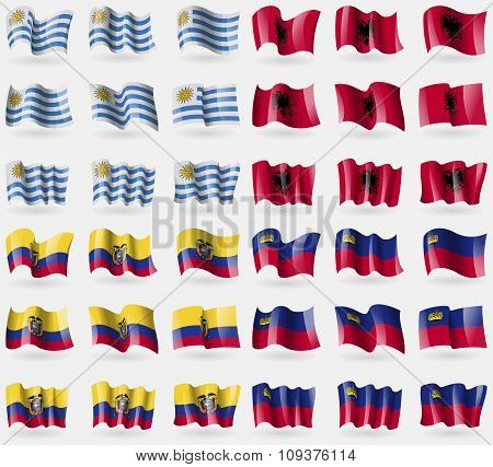 Uruguay, Albania, Ecuador, Liechtenstein. Set Of 36 Flags Of The Countries Of The World. Vector