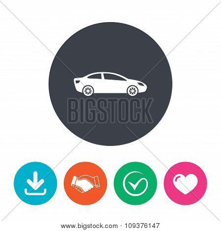 Car sign icon. Sedan saloon symbol.
