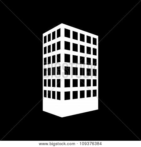 The building icon. Apartment and skyscraper, townhouse, house symbol. Flat