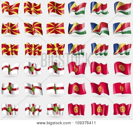 Macedonia, Seychelles, Alderney, Kyrgyzstan. Set Of 36 Flags Of The Countries Of The World. Vector
