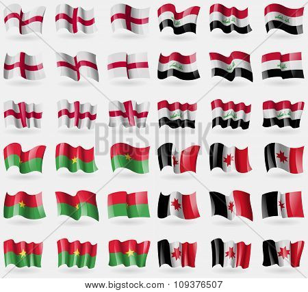 England, Iraq, Burkia Faso, Udmurtia. Set Of 36 Flags Of The Countries Of The World. Vector