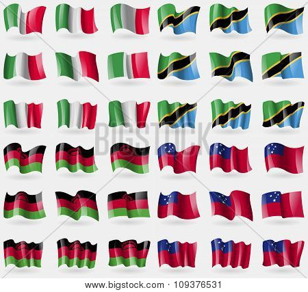 Italy, Tanzania, Malawi, Samoa. Set Of 36 Flags Of The Countries Of The World. Vector