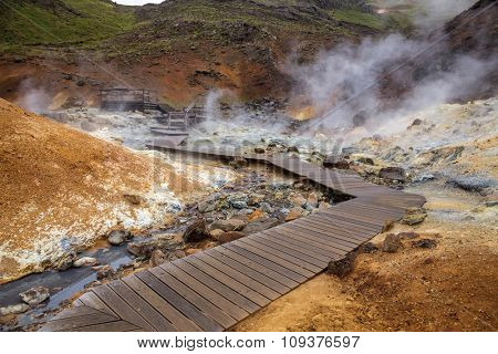 Wooden boardwalk at the Krysuvik Geothermal Area in Reykjanes Peninsula of Southern Iceland