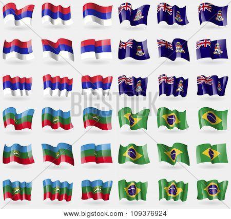 Republika Srpska, Cayman Islands, Karachaycherkessia, Brazil. Set Of 36 Flags Of The Countries Of Th