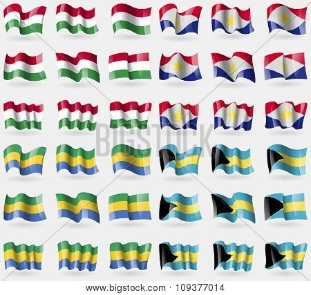 Hungary, Saba, Gabon, Bahamas. Set Of 36 Flags Of The Countries Of The World.