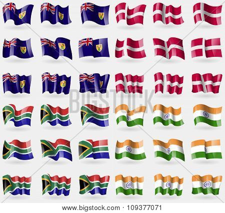 Turks And Caicos, Denmark, South Africa, India. Set Of 36 Flags Of The Countries Of The World.