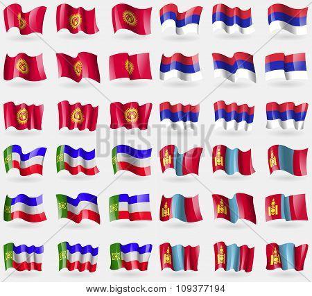 Kyrgyzstan, Republika Srpska, Khakassia, Mongolia. Set Of 36 Flags Of The Countries Of The World.