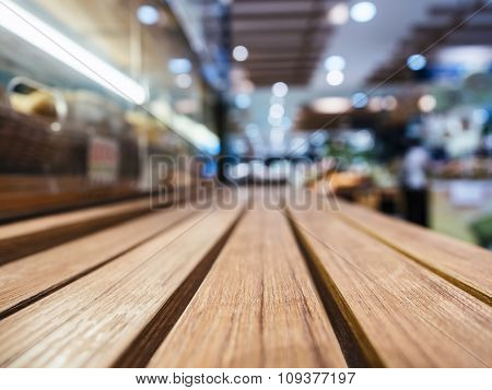 Table Top With Blurred Retail Shop Store Background