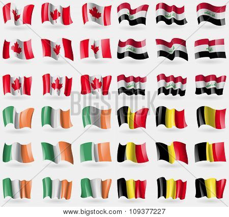 Canada, Iraq, Ireland, Belgium. Set Of 36 Flags Of The Countries Of The World.