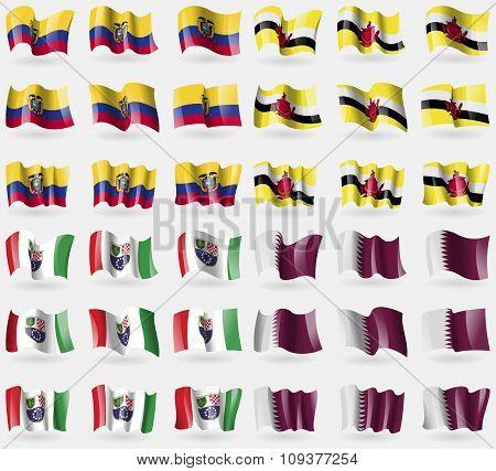 Ecuador, Brunei, Bosnia And Herzegovina Federation, Qatar. Set Of 36 Flags Of The Countries Of The
