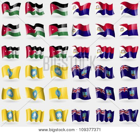 Jordan, Saint Martin, Kamykia, Montserrat. Set Of 36 Flags Of The Countries Of The World.