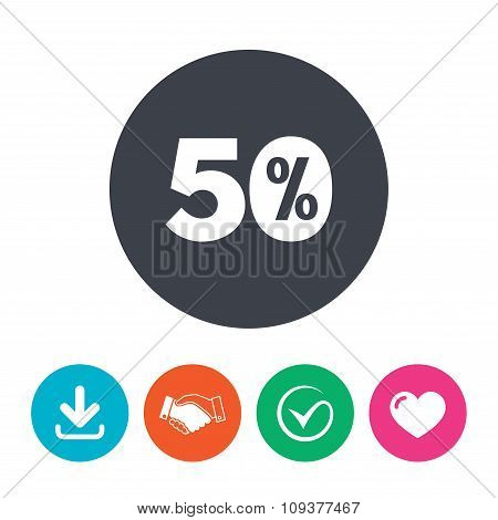 50 percent discount sign icon. Sale symbol.