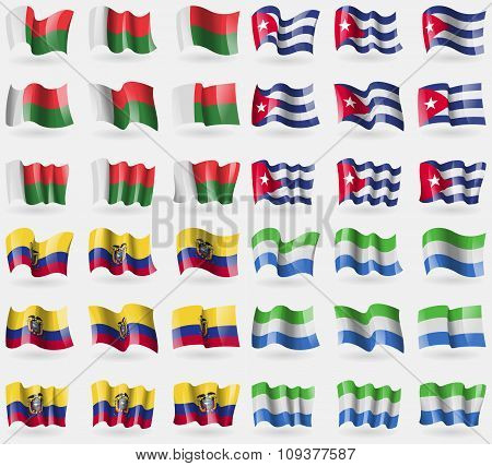 Madagascar, Cuba, Ecuador, Sierra Leone. Set Of 36 Flags Of The Countries Of The World.