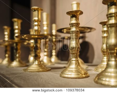 Brass Candle Holders Vintage Decoration Object
