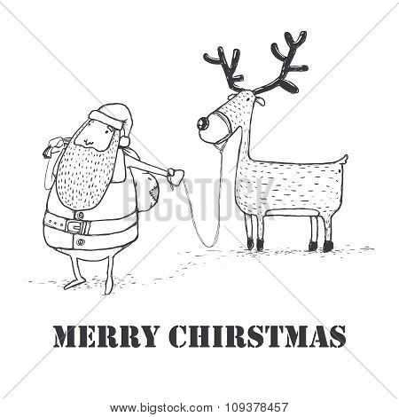 Vector Pencil Sketch Christmas Card