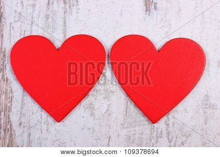 Valentine Red Hearts On Old Wooden White Table, Symbol Of Love