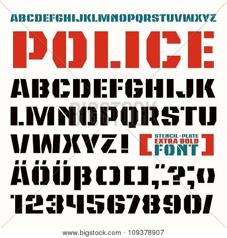 Stencil-plate Sanserif Font In Military Style