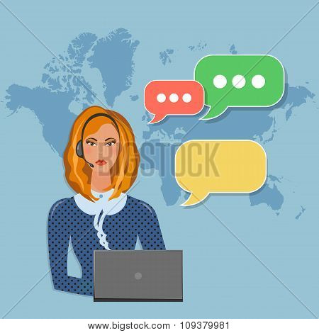Helpline Operator With Headphones In Call Center Speech Bubble Concept Vector