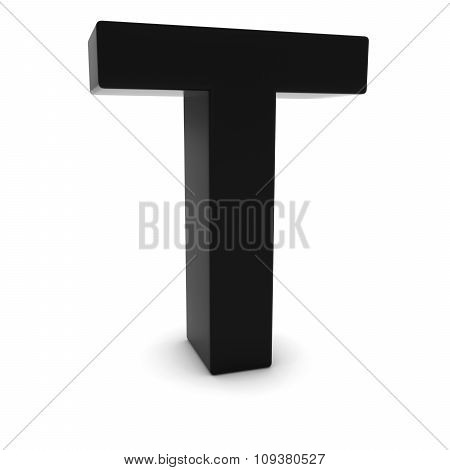 Black 3D Uppercase Letter T Isolated On White With Shadows