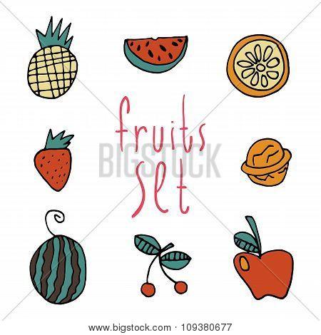 Vector cartoon flat fruits set icon stickers.
