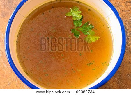 Beef Soup With Parsley Close Up