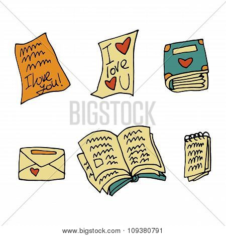 Vector cartoon flat paper books set icon stickers.