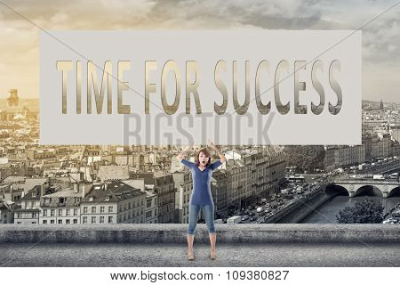 Time for success, words on blank board hold by a young girl in the outdoor.