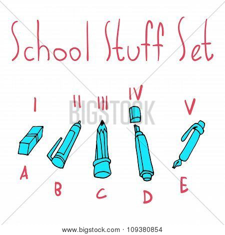 Vector cartoon flat school set icon stickers.
