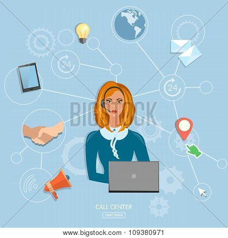 Call Center Operator Beautiful Woman Technical Support Service 24 Hours Vector
