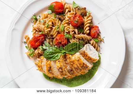 Chicken And Pasta With Pesto Cream Sauce