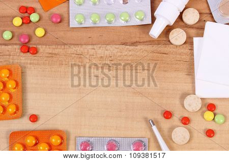 Frame Of Medication And Accessories For Treatment Of Colds, Flu And Runny