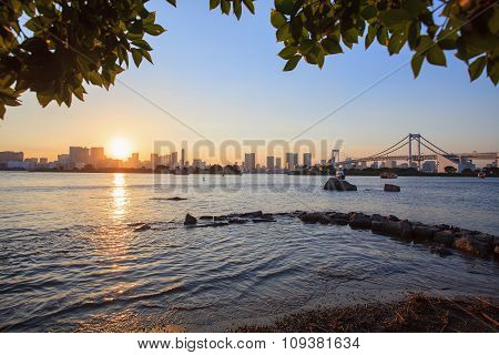 City Scape Of Odaiba Tokyo Japan Important Landmark And Traveling Destination