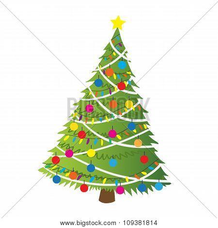 Cartoon christmas tree flat sticker icon.