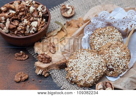 Natural Cookies Of Coarse Flour With Nuts