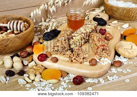 Fitness Bars With Granola, Oatmeal, Nuts, Dried Fruit And Honey