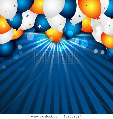 Celebration vector background with colorful balloons and confetti.