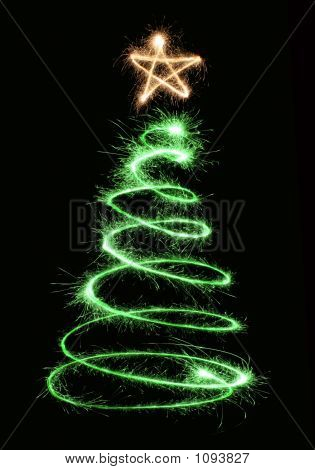 Green Sparkler Christmas Tree Spiral