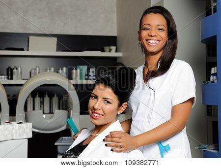 hairdresser and customer