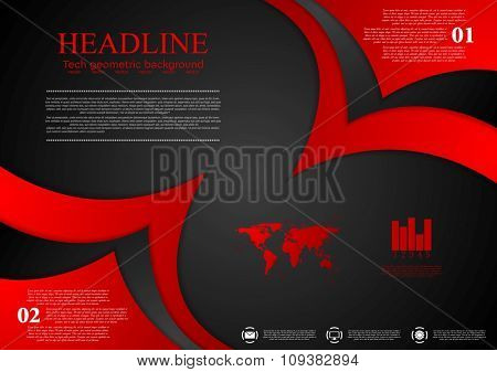 Abstract red black wavy corporate background. Vector design