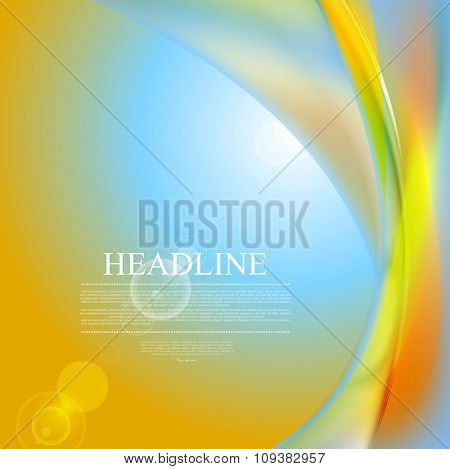 Abstract shiny waves and lens flare design. Vector background
