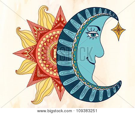 Colorful Sun And Blue Moon Cartoon Illustration