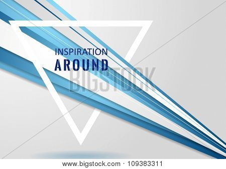Abstract corporate tech background and triangle quote frame. Vector design